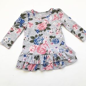 Old Navy grey with floral peplum long sleeve shirt